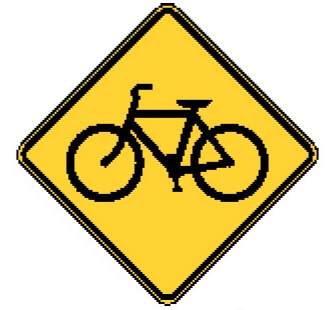 Bicycle warning sign