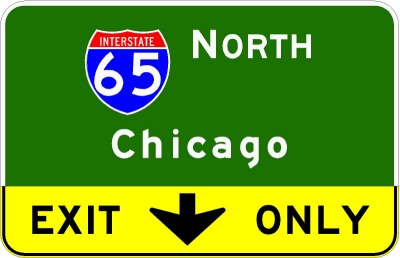I-65 North Chicago Exit Only sign