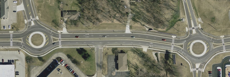 Roundabouts on West 96th Street at Agusta and Shelborne, Carmel, Indiana